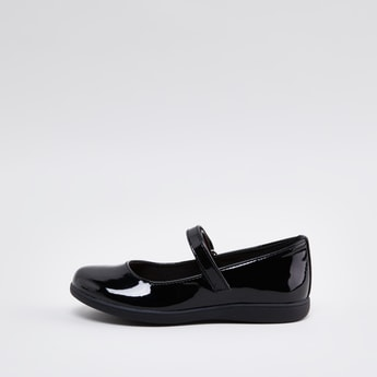 Glossy Mary Jane Shoes with Hook and Loop Closure