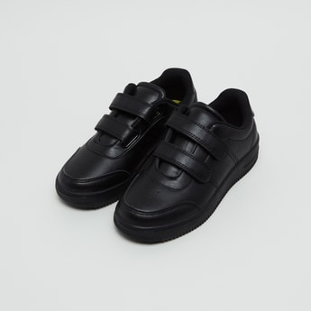 Sneaker Shoes with Perforation Detail and Hook and Loop Closure