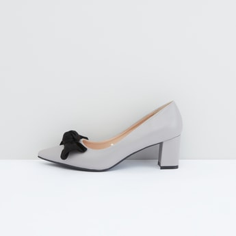 Slip-On Block Heel Shoes with Bow Detail