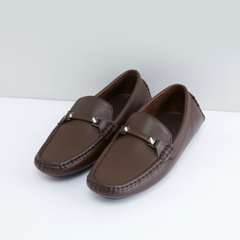 Solid Slip-On Loafers with Vamp Band Detail