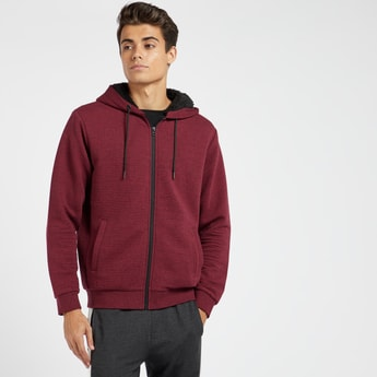 Textured Ottoman Hoodie with Pockets and Front Zip