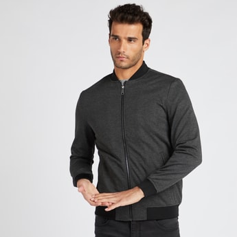 Solid Bomber Jacket with Long Sleeves and Pockets
