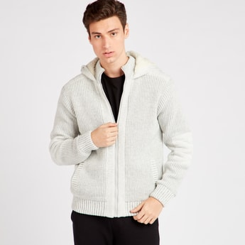 Textured Long Sleeves Cardigan with Hooded Neck and Zip Closure