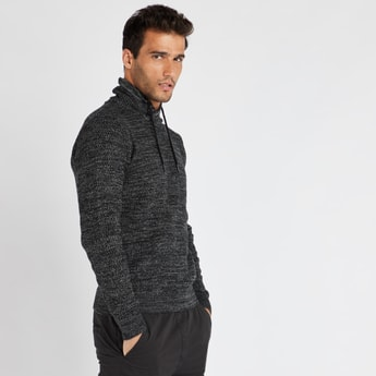 Textured High Neck Sweater with Long Sleeves