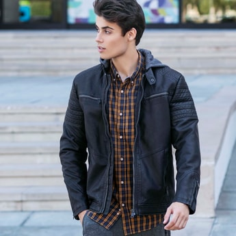 Quilted Hooded Neck Biker Jacket with Long Sleeves