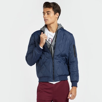 Solid Bomber Jacket with Hooded Neck and Zip Closure