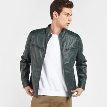 Solid Biker Jacket with Long Sleeves and Zip Closure