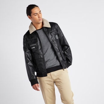 Textured Biker Jacket with Borg Collar and Long Sleeves