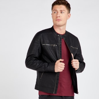 Textured Biker Jacket with Long Sleeves and Zippered Pockets