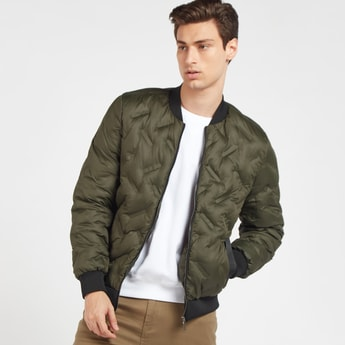 Quilted Bomber Jacket with Pockets and Long Sleeves