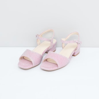 Glitter Sandals with Pin Buckle