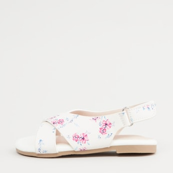 Floral Print Slingback Sandals with Hook and Loop Closure