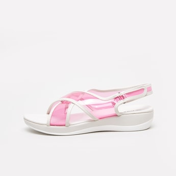 Cross Strap Sandals with Hook and Loop Closure