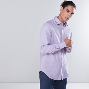 Textured Long Sleeves Shirt with Patch Pocket