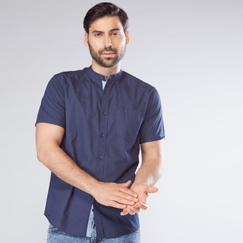 Mandarin Collar Shirt with Complete Placket and Short Sleeves
