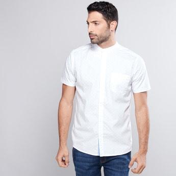 Printed Shirt with Mandarin Collar and Short Sleeves