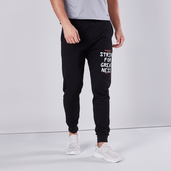 Text Printed Joggers with Cuffed Hem and Pocket Detail
