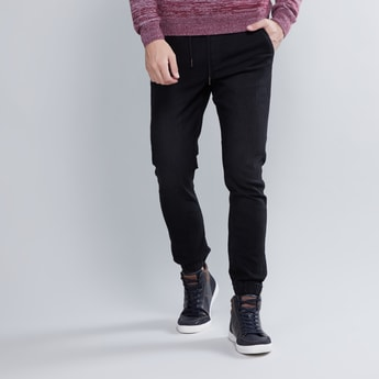 Denim Jog Pants with Drawstring and Pocket Detail