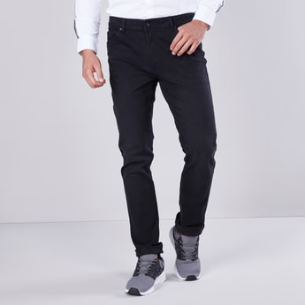 Slim Fit Plain Jeans with 5-Pockets and Belt Loops