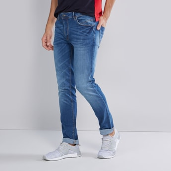 Slim Fit Mid Rise Full Length Jeans with Pocket Detail