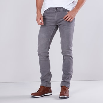 Slim Fit Mid-Rise Solid Jeans with Button Closure