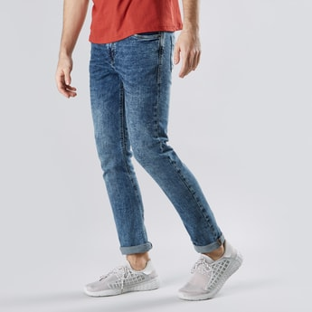 Plain Mid Rise Jeans with Pocket Detail and Belt Loops