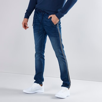 Skinny Fit Plain Mid Waist Jeans with Tape Detail and Drawstring