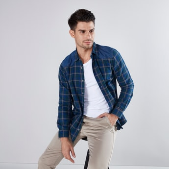 Checked Shirt with Long Sleeves and Curved Hemline
