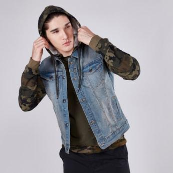 Camouflage Printed Hooded Denim Jacket with Pocket Detail
