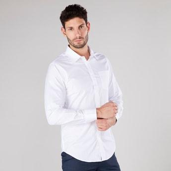 قميص سادة بأكمام طويلة وجيب وأزرار