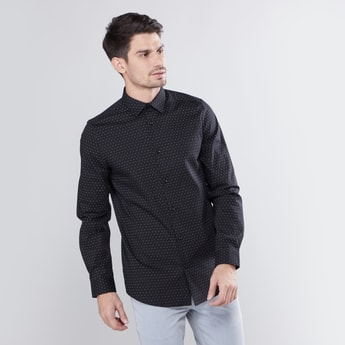 Slim Fit Printed Shirt with Collar and Long Sleeves