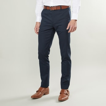 Slim Fit Textured Formal Trousers with Belt Loops and Pocket Detail