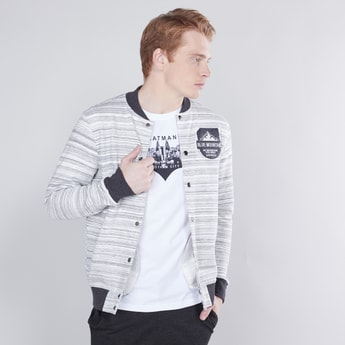Zip Front Bomber Jacket with Long Sleeves