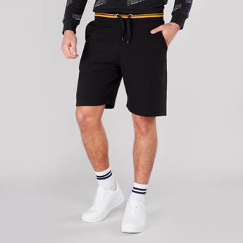 Plain Shorts with Elasticised Waistband and Drawstring