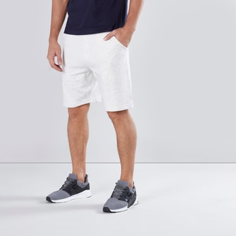 Melange Shorts with Elasticised Waistband and Drawstring