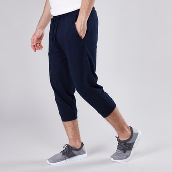 Solid 3/4 Jogger Pants with Elasticated Waistband