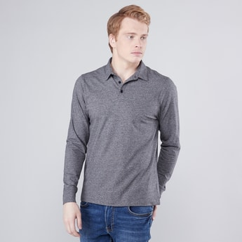 Plain Polo Neck T-shirt with Long Sleeves