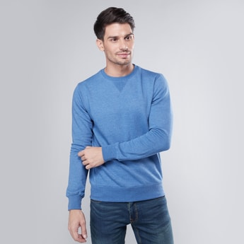Plain Sweatshirt with Round Neck and Long Sleeves