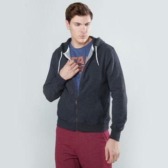 Textured Sweatshirt with Long Sleeves and Hood