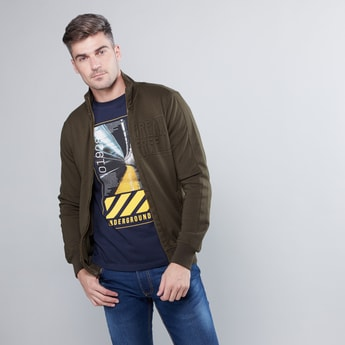 Embossed Jacket with High Neck and Long Sleeves
