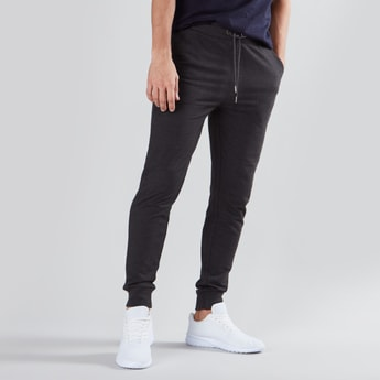 Full Length Mid Waist Jog Pants in Slim Fit with Pocket Detail