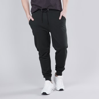 Plain Jog Pants with Pockets and Drawstring Waistband
