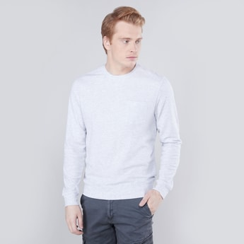Textured Sweatshirt with Patch Pocket and Long Sleeves