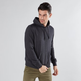 Solid Sweatshirt with Long Sleeves and Hooded Neck