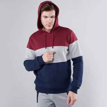 Striped Hooded Sweatshirt with Long Sleeves