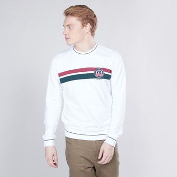 Stripe Detail Sweatshirt with Round Neck and Long Sleeves
