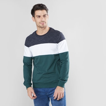 Cut and Sew Sweatshirt with Round Neck
