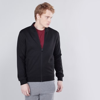 Textured Sweatshirt with Long Sleeves and Zip Closure
