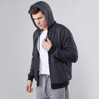 Textured Long Sleeves Sweatshirt with Zip Closure and Hood