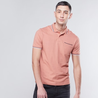 Polo Neck T-shirt with Piping Detail and Short Sleeves